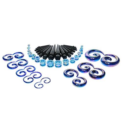 Hellery Kit de Calibre de Acrílico de 48 Piezas, Túneles Y Tapones en Espiral - Multicolor, Azul