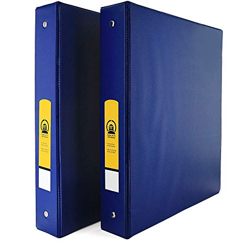 """Emraw Super 1 1/2"""" Inch 3-Ring Binder with 2 Side Pockets for Papers and Dividers - Available in Blue - Great for School, Home, & Office (2-Pack)"""