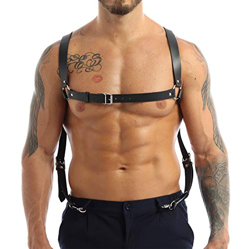IEFIEL Men Black PU Leather Adjustable Harness Shoulder Chest Armor Wedding Suspenders Belt with Buckles and Metal O-Rings Black One_Size