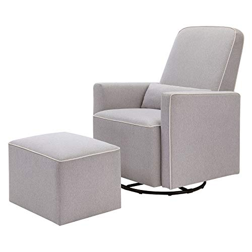 DaVinci Olive Upholstered Swivel Glider with Bonus Ottoman in Grey with Cream Piping, Greenguard...