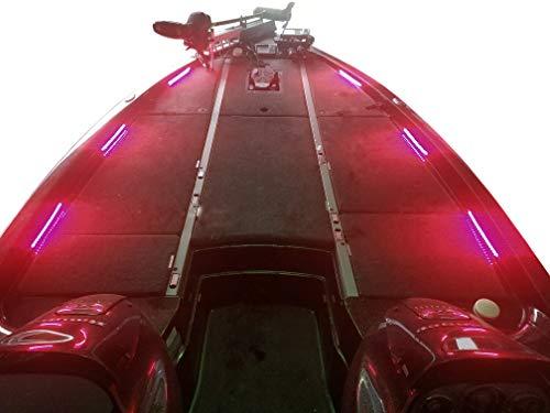Fishing Vault Boat Deck Lighting Kit with 6 Premium Waterproof LED Light Strips (Red)