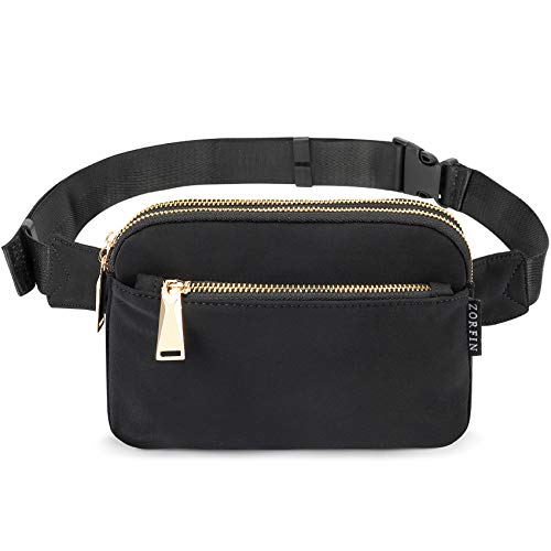 ZORFIN Fanny Pack for Women Men Fashion Waist Bag Water Resistant Hip Bum Bag with Adjustable Belt for Travel Hiking Cycling Running(black)