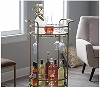 Olivia Round Bar Cart w/Shimmering Glass Top Made w/ Tempered Glass and Iron in Gold Powder-Coat Finish 24W x 19D x 36H in.