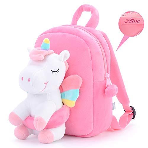 Gloveleya Einhorn Kinder Rucksack Personalisierte Einhorn Rucksäcke Baby Geschenk Baby Gepäck zurück in die Schule Reise verwenden - Einhornpuppe weiß 23CM