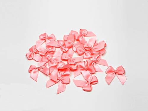 Creativery Lot de 20 nœuds en satin 2,5 x 3 cm Couleur unie Nœuds décoratifs pour mariage baptême communion (rose 150)