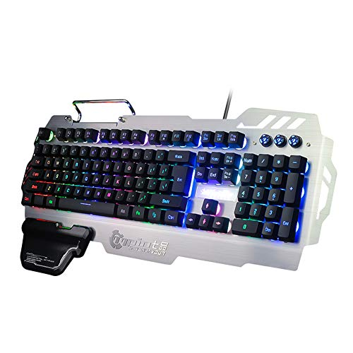 Colorful Backlit Gaming Keyboard - FN Multi-Functional Combination, Metal Mobile Phone Holder, Ergonomic Hand Rest, Waterproof, Suitable for Windows PC Gamers and Offices (Metal Keyboard)