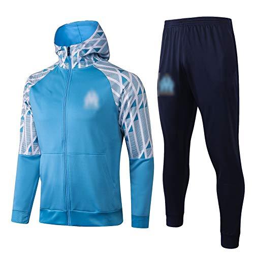 THUK 20-21 Marseille Football Training Anzug, kurzärmelige Sportkleidung Trainingsanzug Set, Outdoor Sports Herren Kurzgezeichnete Sportbekleidung (S-XXL) Light Blue-L