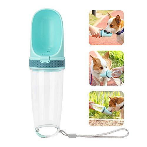 Pejoye Portátil Botella de Agua para Perros, Dispensador de Agua para Mascotas Antibacteriano Grado de Comida Prueba de Fugas Perro Gato Botella de Bebida de Viaje 500ml (Verde)