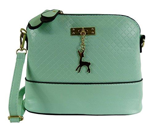 Trachtentasche Lederimitat Dirndltasche mit Reh Anhänger - Umhängetasche fürs Dirndl - Mint grün
