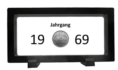 WallaBundu Geschenkidee zum 51. Geburtstag. 1 DM von 1969 im transparenten 3D Rahmen. Echte Münze aus Umlauf und Taschenkalender als Nachdruck. Nostalgie…