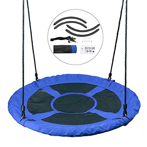 Tree Swing YXX- Removable Saucer for Kids & Adults, Round 40 Inch Swing Seat for Outdoor Playground, Backyard & Playroom, Blue