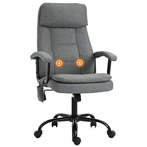Vinsetto Bürostuhl massage, höhenverstellbarer Chefsessel, Gamingstuhl mit Massagefunktion, ergonomischer Drehstuhl, Massage Sessel, Leinen-Gefühl, Grau, 63 x 70 x 112-121 cm