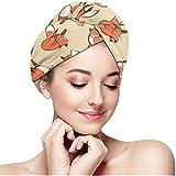 Olive Helin(a) Asciugamani per Capelli - Durevole Testa da Bagno Turbante Volpe con Bottone, Cappello per Capelli bagnati Asciutto Magico Unico e rapido