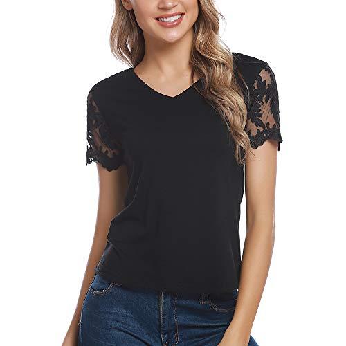 Aibrou Mujer Casual Camiseta de Encaje Verano Camisa Manga CortaBlusas Básicas Blouse Tops
