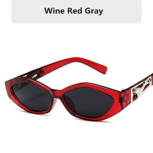 Stilvolle ovale Sonnenbrille Frauen männlich Vintage Retro kleinen Rahmen weiblich Damen Sonnenbrille UV400 Strand Sonnenbrille Fahrbrille-Wein rot grau