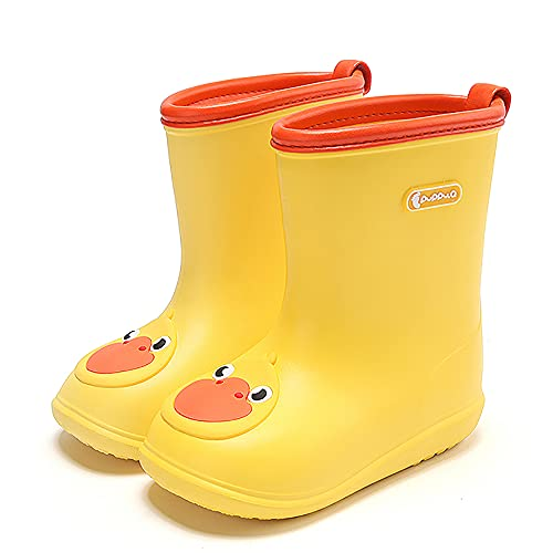 Nasogetch Kids Wellies Boys Girls Wellington Boots Rain Boots Lightweight Waterproof Yellow 140