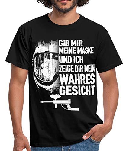 Paintball Meine Maske Mein Wahres Gesicht Statement Männer T-Shirt, S, Schwarz