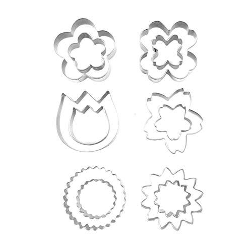 12 stampi per biscotti, set di stampi per biscotti, in acciaio inox, con motivo a fiori, strumenti...