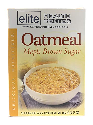 Elite Health Center, Maple Brown Sugar Oatmeal, High Protein, Zero Sugar, 0.94 Ounce (Box of 7)