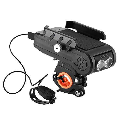 Whuooad Faro para bicicleta 4 en 1 con soporte para teléfono móvil, linterna para bicicleta de 550 lúmenes, recargable por USB, impermeable, con 3 modos de luz (negro)