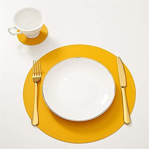 MJS Leder Tischset Geschirr Auflage mit Coaster Wasserdicht Oilproof Tablemat Küche Waschbar Wärmedämmung Non-Slip Bowl Cup Pads (Farbe : Yellow, Größe : 6pcs)