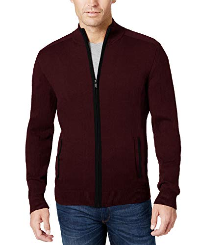 COOFANDY Mens Full Zip Up Sweaters Lightweight Casual Slim Fit Cardigan with Pockets (S, Wine Red)