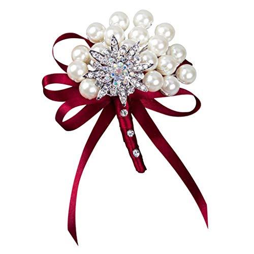 Colcolo Bridal Silk Flower Bodice/Hair Wedding Brooch Flower Pin - Wine Red, as described