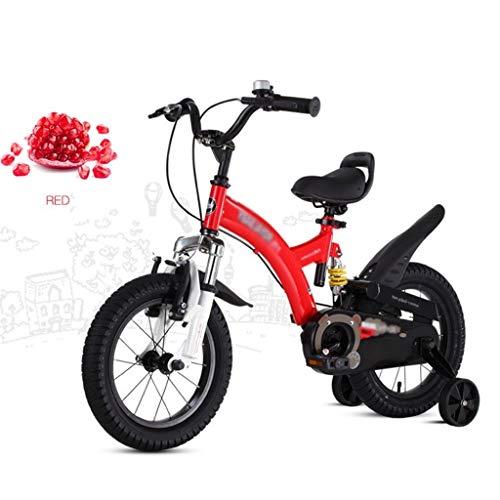 bicicleta for niños Cochecito montaña Balance de absorción de Choque Coche Carretera de niño Aprendizaje for niña (Color : Red, Size : 14inches)