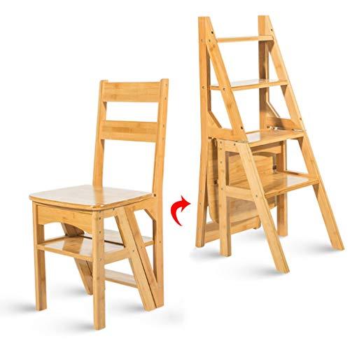 Escalera plegable taburete banqueta Escalera pequeña de madera, mini taburete plegable ligero con pedal antideslizante resistente y ancho Paso 4, 90 kg (Color : Wooden color)