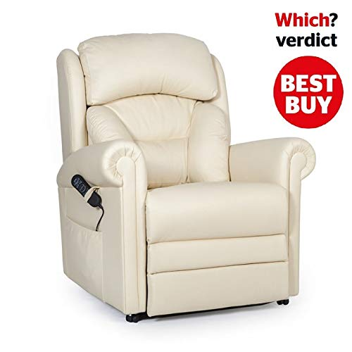 British Made Cullingworth Leather Riser Recliner Chair with Additional Powered headrest and Lumbar Control (Lateral Support Backrest, Cream)