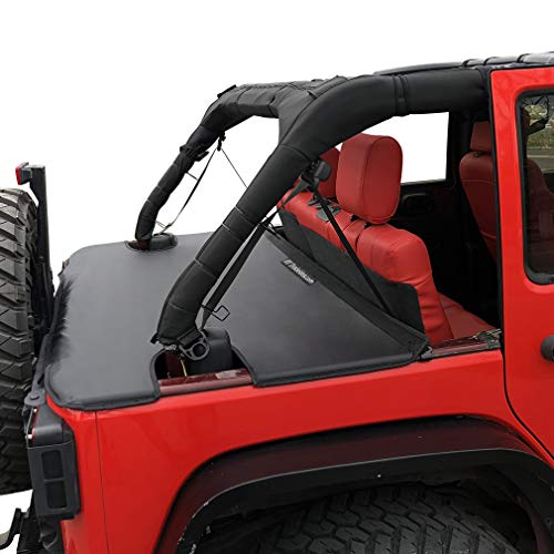 Shadeidea Tonneau Cover for Jeep Wrangler JK Unlimited (2007-2018) 4 Door Rear Trunk Cover Cargo Vinyl Cover for JKU Tailgate Ton Cover-Black-3 Years Warranty