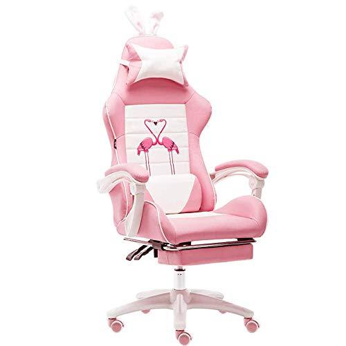 Aigrun Gaming Chair ergonomica Girevole per Ufficio Sedia da scrivania per PC Sedie per Computer Heavy Duty reclinabile con Schienale Alto Girly Cuore Rosa