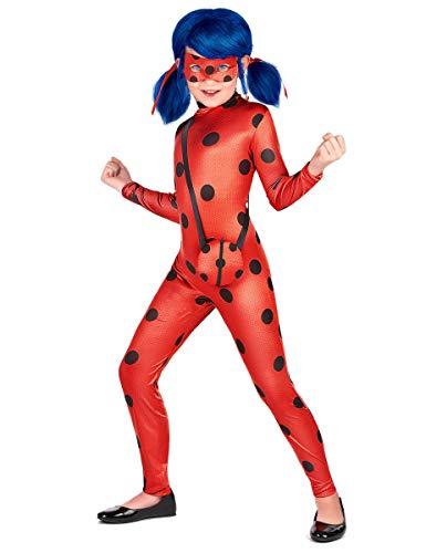Generique Ladybug™-Mädchenkostüm mit Tasche Miraculous™ rot-schwarz (122/128 (7-8 Jahre))