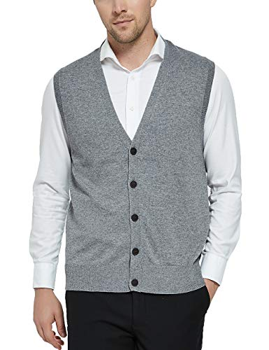 Kallspin Relaxed Fit Mens Cashmere V-Neck Knit Sweater Vest with Front Button (Light Grey, Large)