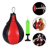 Qdreclod Cuero Peras de Boxeo de Velocidad, Saco de Boxeo Colgante con Inflador Conjunto de Entrenamiento para Entrenamiento Físico MMA Muay Thai o Entrenamiento Deportivo