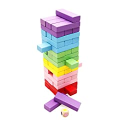 Product dimensions: Tower - 3.1 x 3.1 x 10.8 inches, single piece: 2.95 x 0.59 x 0.98 inches Package Includes: 48 colorful building blocks with a dice! Comes packaged in a box for easy storage and transportation Perfect Family Game! Adults and childr...