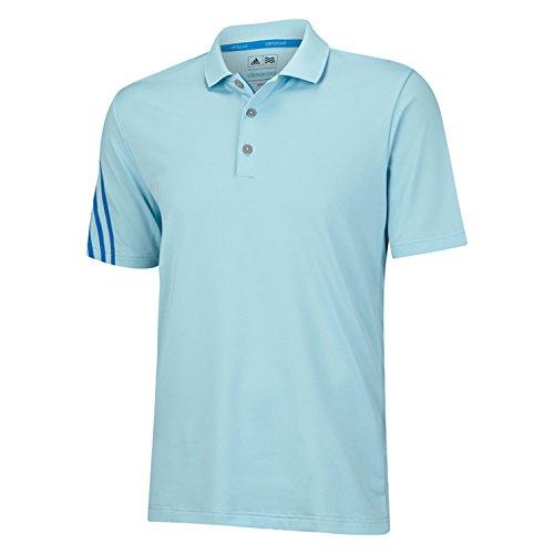 adidas Golf Men's Climacool 3 Stripes Polo Shirt, Frost Blue/Bahia Blue/White, Medium