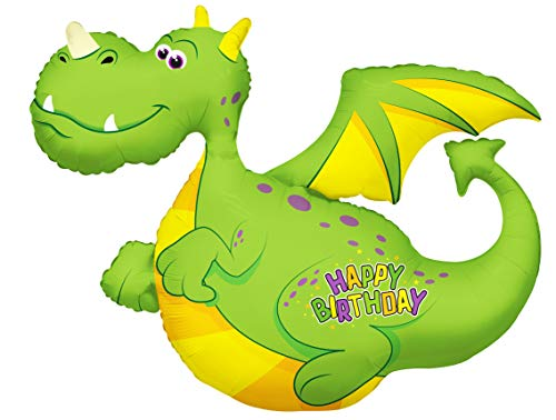 Kaleidoscope Ballonim® Drache Luftballon Happy Birthday ca. 91cm Luftballons Folienballon Party DekorationGeburtstag