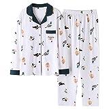 Conjunto De Pijamas De Mujer,2Pcs Pijamas De Algodón Suave Con Estampado De Dibujos Animados Ropa De Dormir Con Botones De Manga Larga Ropa De Dormir Tops + Pantalones Conjuntos De Salón Ropa De Ca