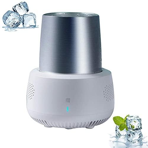 XBR Ice Bucket Cooler,Electronic Bottle Chiller, 350ml Portable Refrigeration Rapid Cup Cooler, Desktop Fast Cooling Fridge Single Bottle Drink Chiller for Home & Travel Iced Beer Wine Beverage,White
