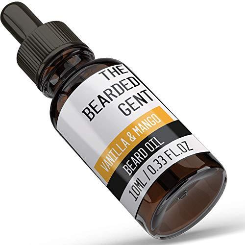 The Bearded Gent Beard Oil - Moisturiser & Conditioner for Men's Facial Hair & Skin - Argan, Jojoba & Grapeseed Oils - Helps Prevent Itching & Dandruff - Softener, Thickener - Vanilla & Mango - 10ml