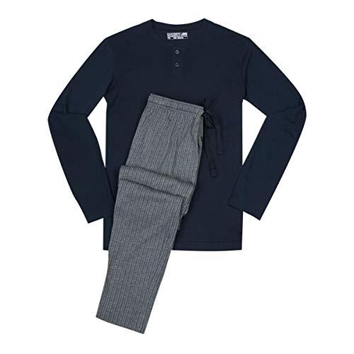 Jockey XXL Pyjama Navy mit grau gestreifter Hose, XL Größe:4XL