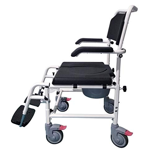 """YUWELL Shower Wheelchair Over Toilet, Aluminum Shower Commode Mobile Chair with Lift Arms and PU Leather Padded Seat Backrest, w/ 5"""" Locking Caster"""