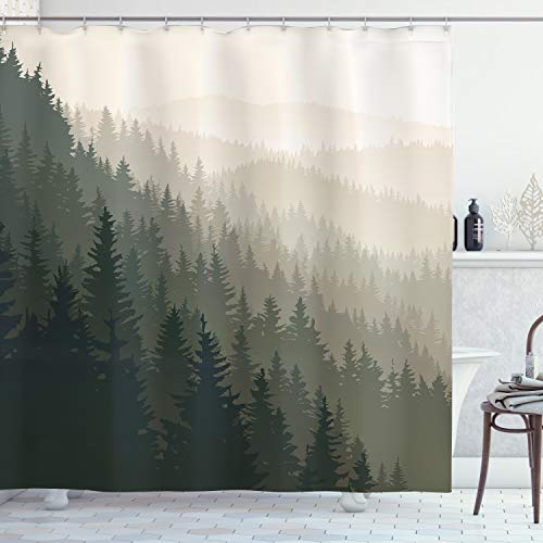 ABAKUHAUS Wald Duschvorhang, Scandinavian Nature, Klare Farben aus Stoff inkl.12 Haken Farbfest Schimmel & Wasser Resistent, 175 x 200 cm, Creme Tan dunkelgrün