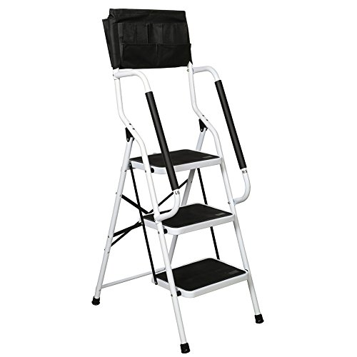 Folding 3-Step Safety Step Ladder - Padded Side Handrails - Attachable...