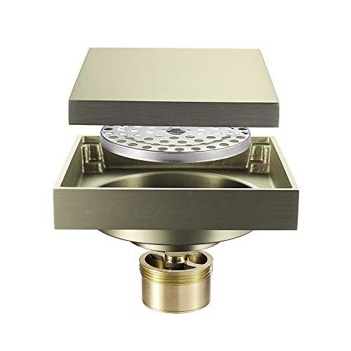 SHUGUANG Duschablauf Messing Gebürstetes Gold Quadratisch 4 Zoll Duschrinne mit Haarsieb Bodensiphon Duschablauf Gitter Bodenbefestigung Ablaufrinne für Badezimmer und Küche
