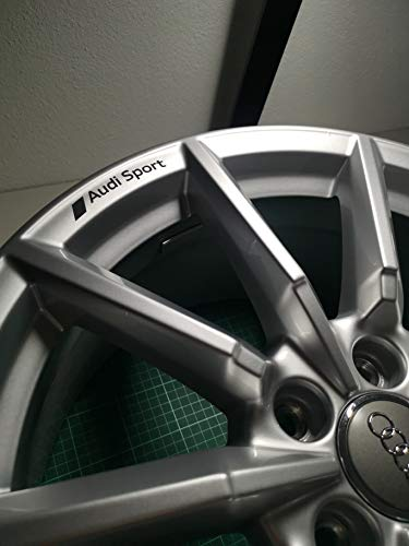 Folienkammerl FK-AS1 | Aufkleber Set (4Stck.) passend für Audi Felgen | Aufkleber | Sticker | 8cm x 1,3cm | Schwarz