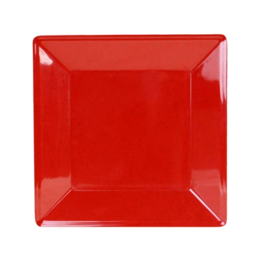 Global Goodwill Jazz Series 1-Piece, Square Plate, 13-3/4-Inch by 13-3/4-Inch, Jazz Red