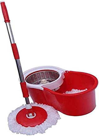 KEVAY S324 Aqua 360° Spin Mop Bucket with 2 Refills (Red)