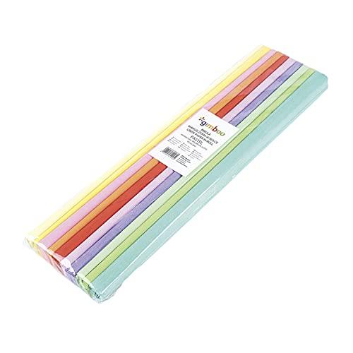 Gimboo - 10 rollos de papel crepé, color pastel, 50 x 200 cm, surtido / cintas de colores para crepé, ideal para manualidades creativas, 1 paquete, colores surtidos